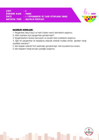 6 Sınıf 1 Ünite Hazırlık Ödevleri