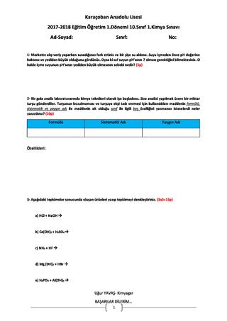 Kimya 10.Sınıf I.Dönem I.Sınav Soruları