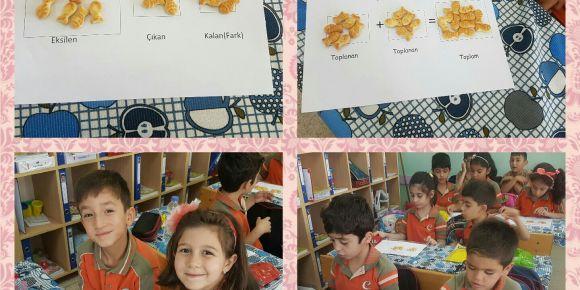 Hatice Seyit Çeker İlkokulu 1-C sınıfı yiyerek öğreniyor