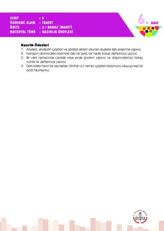 6 Sınıf 2 Ünite Hazırlık Ödevleri