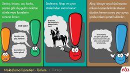 Noktalama işaretlerinden olan ünlemin işlevlerini anlatan infografik.