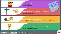 Noktalama işaretlerinden olan noktanın temel işlevlerini görsellerle ve örnek cümlelerle anlatan Türkçe dersi infografiği.