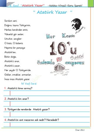 Atatürk Yazar Şiiri - Noktalama İşaretleri