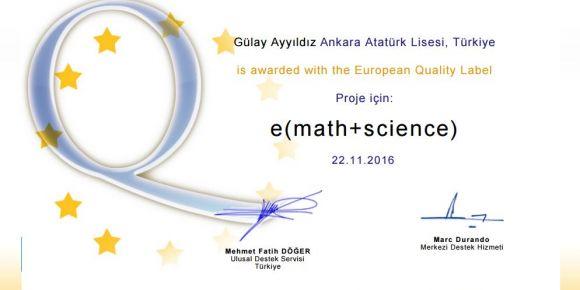 Etwining Avrupa Kalite Etiketi Ödülü