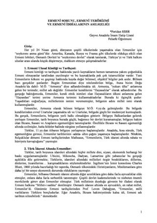 Ermeni Sorunu Ve İddiaların Asılsızlığı