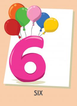 İngilizce sayılar resimlerle gösterilir.(6-Six-Altı)