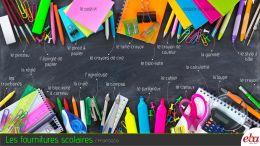 Okul malzemeleri ile ilgili infografik çalışma.