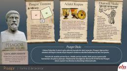 Ünlü bilim insanı Pisagor'un hayatını ve çalışmalarını anlatan infografik çalışması