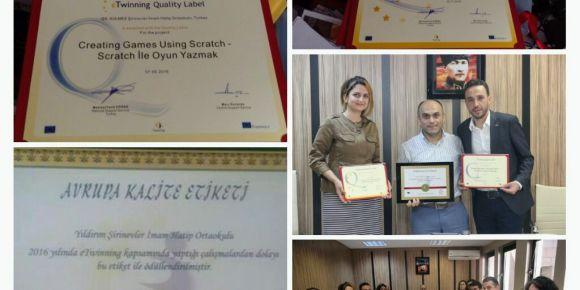 Şirinevler Ortaokulu Avrupa kalite etiketi ödülünü aldı