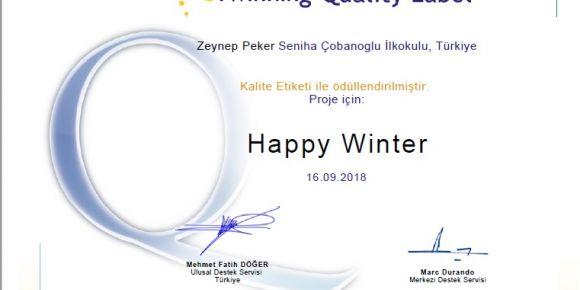 "eTwinning projemiz ""Happy Winter"" kalite etiketi kazandı"