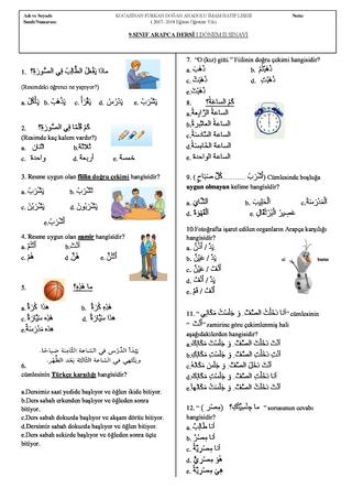 9.sınıf arapça 1. dönem 2. yazılısı