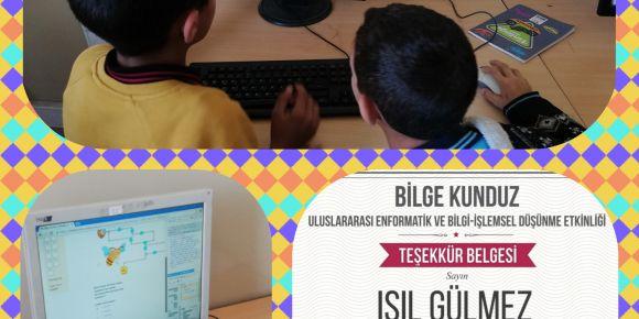 Fatih Sultan Mehmet Ortaokulu Bilge Kunduz etkinlik sertifikası almıştır