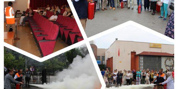 Nilüfer Özel Eğitim Meslek Lisesi öğretmenleri yangın eğitiminde