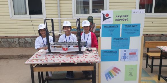 Bayramlı Ortaokulu öğrencileri Arşimet Köprüsü yaptılar