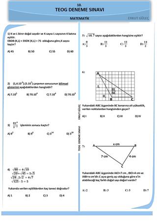 2016-2017 2.dönem Matematik TEOG Deneme sınavı 10