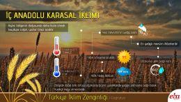 Türkiye'de görülen iklim tiplerinden İç Anadolu Karasal İklimi tanıtılmıştır.