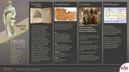 Bilim insanı Öklid'in hayatı ve bilim tarihine kazandırdıklarını anlatan infografik çalışması.