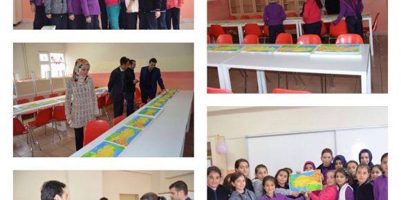 5. sınıf öğrencilerden kabartma haritası sergisi