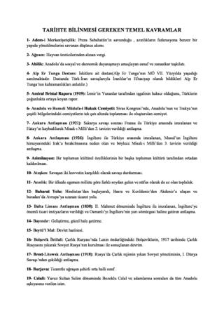 Tarihte Bilinmesi Gereken Temel Kavramlar(YGS İçin)
