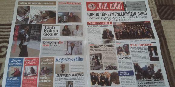 Celal Bayar Mesleki ve Teknik Anadolu Lisesi Grafik ve Fotoğraf Bölümü  Gazete tasarımı