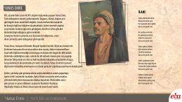 Türk edebiyatının önemli isimlerinden Yunus Emre hakkında bilgi içeren infografik çalışma.