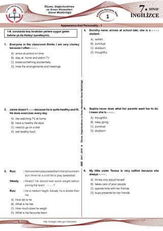 7. sınıf İngilizce kazanım testleri