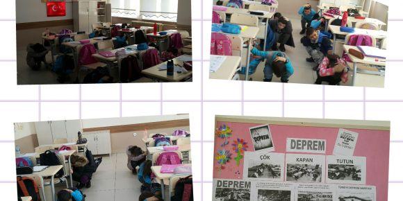 Sınıfta deprem tatbikatı