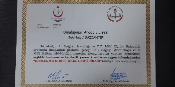 Okulumuz beslenme dostu okul sertifikasını aldı