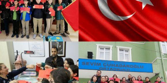 Kahraman Mehmetçiğimize Beylikdüzü Sevim Çuhadaroğlu Ortaokulundan mektup var
