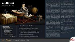 Biruni'nin hayatı ve eserleri hakkında bilgi verilen infografik çalışma