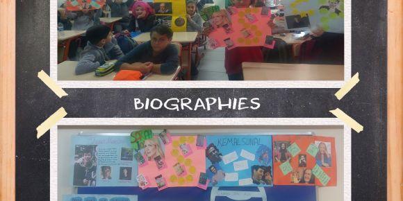 Didim Efeler Ortaokulu 7C sınıfı ''Biographies'' (Biyografiler) pano çalışması