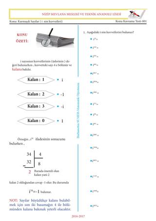 Karmaşık Sayılar ( i nin kuvvetleri)