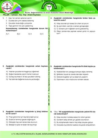 Kazanım Kavrama Testleri 7. Sınıf Türkçe