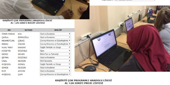 Dijital ortamda kulüp ve proje ödevi seçimleri