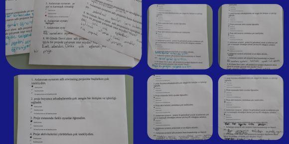 Anlatırsan Oynarım projesine katılan öğrenciler proje anket sorularını yanıtladılar
