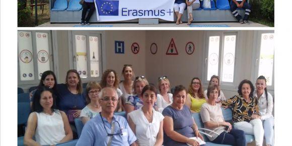 """Erasmus + projesiyle Urla'ya gelen öğretmen konuklar """" Trafik Eğitim Parkı""""nı incelediler"""