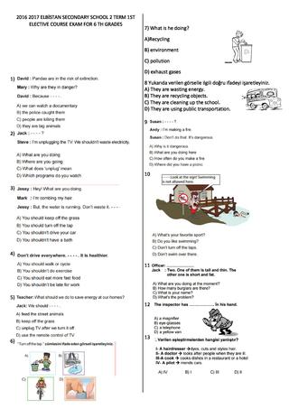 6. sınıf ingilizce 2. yazılı soruları MEB kazanım testlerinden derleme