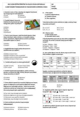 6.sınıf programlama sınavı
