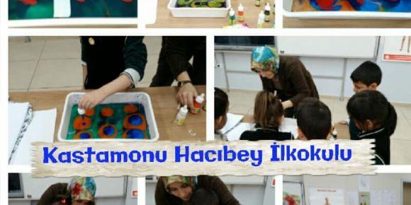 Kastamonu Hacıbey İlkokulu öğrencileri ebru sanatı uygulamaları