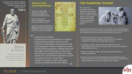 Bilim insanı Hipokrat'ın hayatı ve bilim tarihine kazandırdıklarını anlatan infografik çalışması.