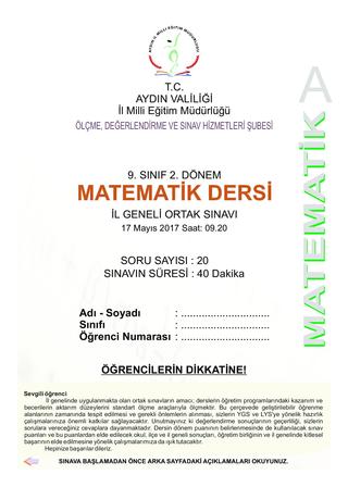 2016-2017 E.Ö.Y. AYDIN M.E.M. 2. DÖNEM MATEMATİK ORTAK SINAVI İNTERAKTİF PDF