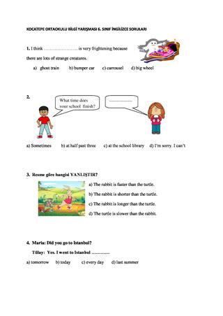 bilgi yarışması İngilizce soruları