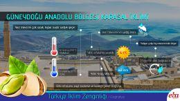 Türkiye'de görülen iklim tiplerinden Güneydoğu Anadolu Karasal İklimi tanıtılmıştır.
