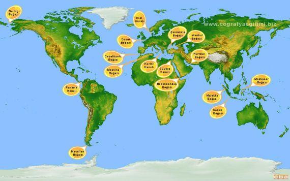 Dünya Üzerindeki Önemli Boğazlar ve Kanallar Haritası