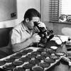 Mikroskopla petrol incelemesi yapan adam
