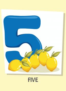 İngilizce sayılar resimlerle gösterilir.(5-Five-Beş)