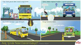 Özel ve toplu taşıma araçlarına binerken ve bu araçlarda yolculuk ederken nasıl davranılması gerektiği anlatılır.