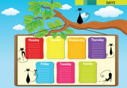 Haftanın günleri İngilizce olarak resim üzerinde gösterilir.