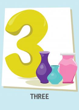 İngilizce sayılar resimlerle gösterilir.(3-Three-Üç)