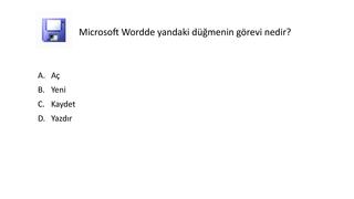 Microsoft Office Word Çalışma soruları